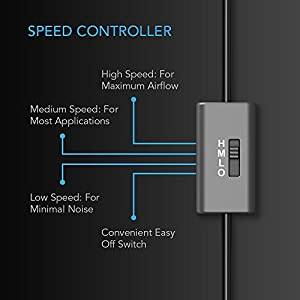 AC Infinity MULTIFAN S2, Quiet 120mm USB Blower Fan with Speed Control, for Receiver DVR Xbox Modem AV Cabinet Cooling
