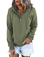 Vrouwen Hoodie voor Herfst met Kangaroo Pocket Sweatshirts Tops Lange Mouw Casual Trekkoord Button Down Pullover Sweatshirt