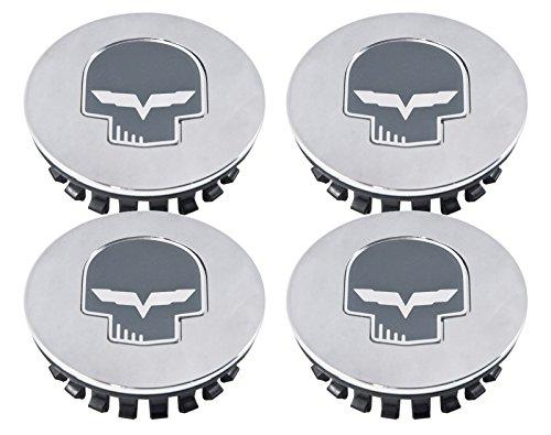 2005-2013 C6 Corvette Chrome & Gray Jake Skull Center Caps - Set of (Skull Center)