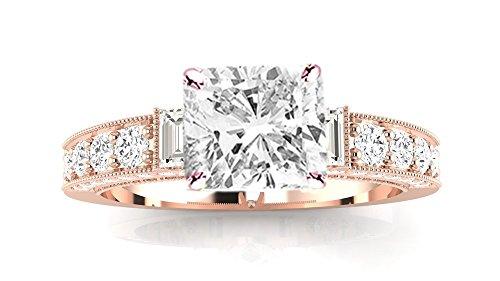 (2.58 Ctw 14K Rose Gold GIA Certified Cushion Cut Gorgeous Prong Set Round and Half Bezel Baguette Diamond Engagement Ring, 2 Ct D-E VS1-VS2 Center)