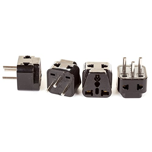 Israel Plug (OREI 2 in 1 USA to Israel Travel Adapter Plug (Type H) - 4 Pack, Black)