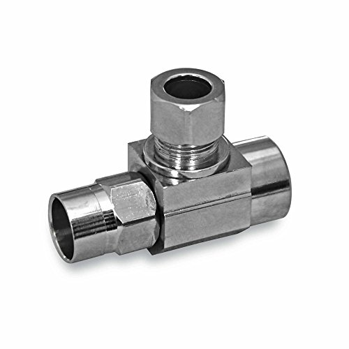 Everflow Supplies 91212PR-NL Boxed Lead Free Quarter Turn Angle Premium Stop Valve with Solder Cup and Compression Connect and Loose Key for Operation, 1/2