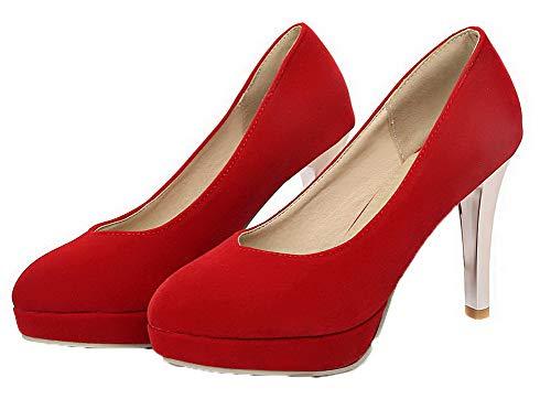 Légeres Agoolar Chaussures Suédé Femme Couleur Rond Unie Rouge Gmbdb011388 WarSYagFq