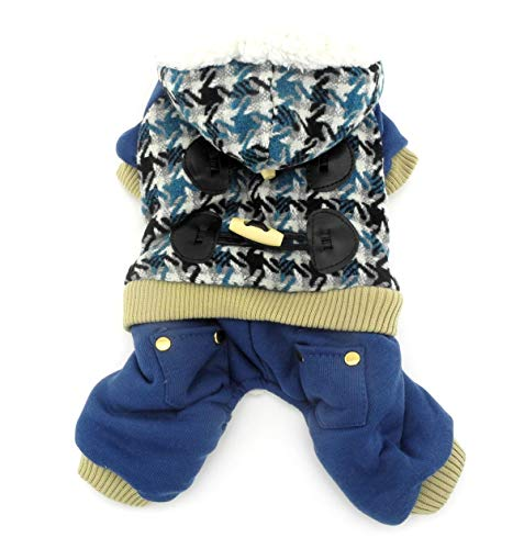 RSHSJCZZY Winter Houndstooth Hooded Jumpsuit Small Dog Fleece Lined Keep Warm Coat Snowsuit -