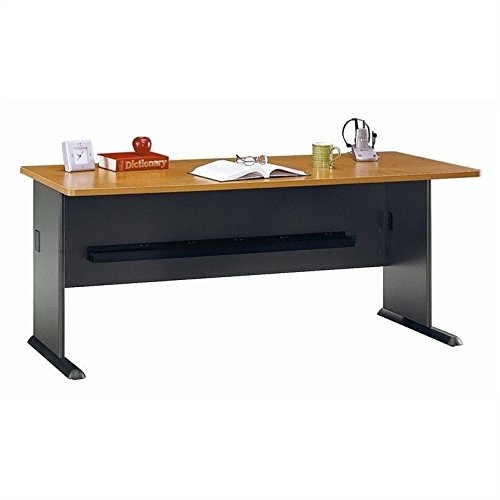 Bush Business Furniture Series A 72W Desk in Natural Cherry and Slate ()