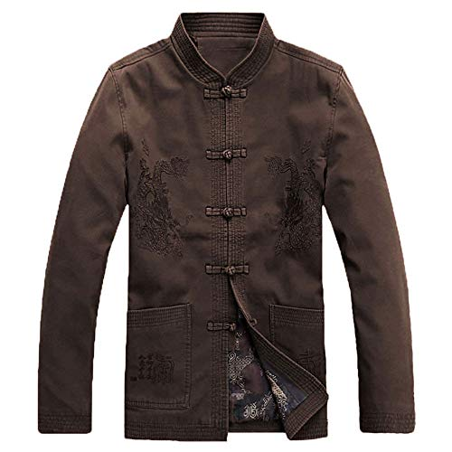 ZooBoo Chinese Clothing Tang Suit - Traditional ChinaAncient Costume Male Martial Arts Tangzhuang Kung Fu Long Sleeve Jacket (Dark Gray, 3XL) ()