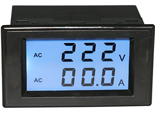 Yeeco Digital AC Voltmeter Ammeter AC 80-300V 100A Amp Volt Panel Meter Voltage Current Amp Monitor 110V 220V LCD Dual Display Volt Ampere Power Monitor Measuring Current Tester Two Wires with CT