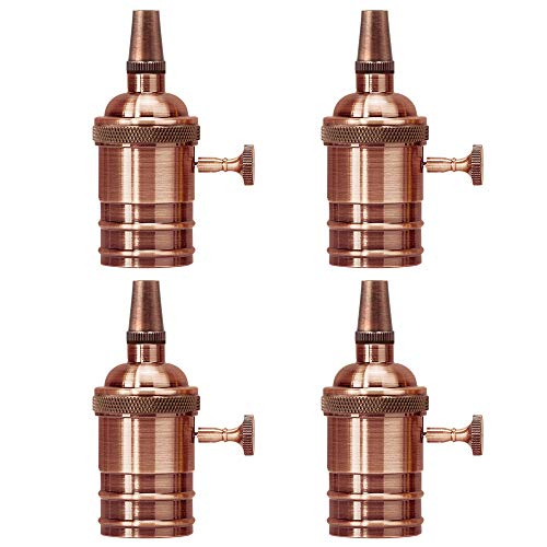Copper Edison Lamp Socket Turn Knob Vintage Pendant Light Holder Replacement Medium E26 Socket Base Industrial Metal Shell with Strain Relief by UPIDLighting Pack of 4