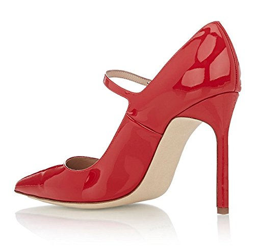 Kolnoo Womens High Heel Classic Mary Jane Shoes Work Party Court Shoes Pumps Red ui5PN