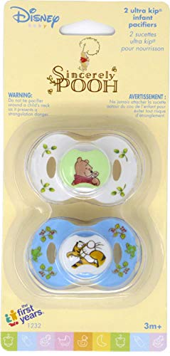 Disney Baby Sincerely Pooh Ultra Kip Infant Pacifiers, 3+ Months (The First Years Pacifier Clip)