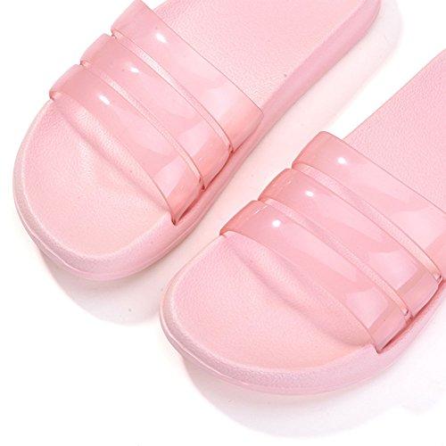 Plaid&Plain Women's Transparent House Open Toe Slippers Non-slip Sandals Pink L (Plain Slides compare prices)