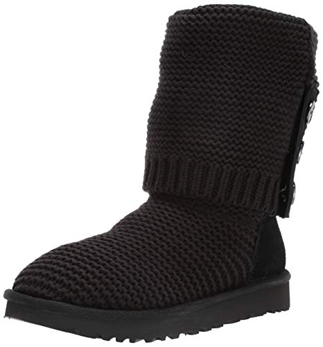 UGG Women's W Purl Cardy Knit Fashion Boot, Black, 8 M US