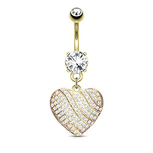 Micro CZ Crystal Paved Heart Dangling Belly Button Ring in 14kt Gold Plated 316L Surgical Steel 14kt Diamond Heart Navel Jewelry