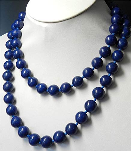 FidgetGear Handmade Necklace 36'' Natural 10mm Lapis Lazuli Round Beads Gemstone