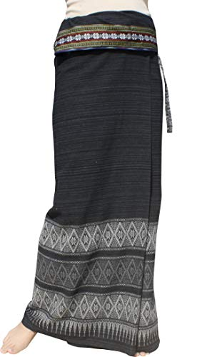 RaanPahMuang Striped Cotton Thai Tube Wrap Skirt with Floral Belt and Batik Art, Medium, Black