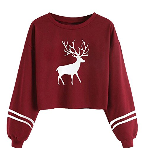 (CHIDY Women's Casual Long Sleeve O Neck Deer Print Sweatshirt Blouse Solid Striped)