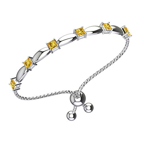 (Belinda Jewelz Womens 925 Sterling Silver Sparkling Square Bolo Gemstone Adjustable Tennis Style Pull String Birthstone Jewelry Fine Bracelet, 1.8 Carat Natural Yellow Citrine, 11 Inch Box Chain )