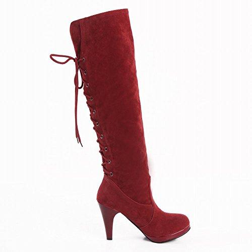Stivali Eleganti Con Tacco Alto Alla Francese Latasa Da Donna, A Strisce Sul Retro Rosso