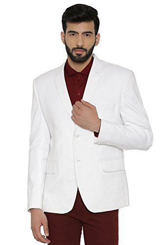 Evening Jacket Coat - WINTAGE Men's Linen Tailored Fit Solid Evening/Casual Blazer Coat Jacket : White, XX-Large