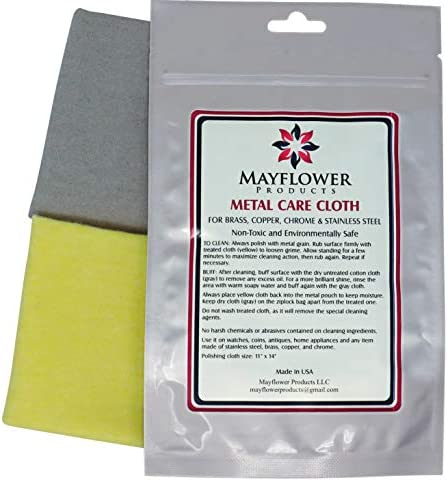 Metal Care Kit for Stainless Steel Copper Brass Chrome. Made in USA Non-toxic 11 x 14 Inch 2 Cotton Cloth Set: 1 for Cleaning and Polishing 1 for Finish Shine. Environment User-Friendly Cleaner
