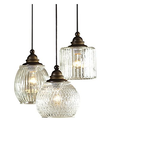 allen + roth Cardington 14.67-in Aged Bronze Craftsman Multi-Light Clear Glass Dome - Craftsman Pendant Lighting