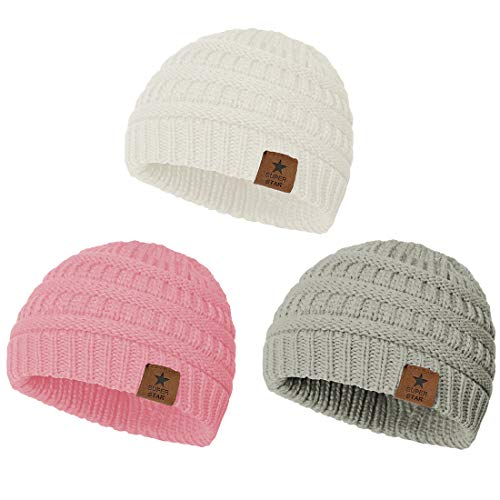 Durio Beanie Baby Girl Hats Winter Hat Baby Girl Gifts Knit Baby Hat Toddler Girl Beanie Hat C 3 Pack Light Grey & Pink & White