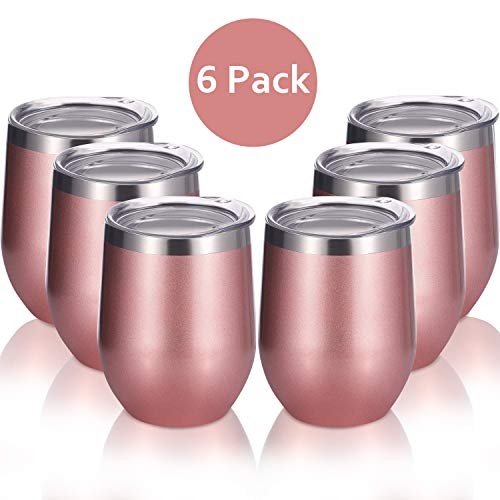 Skylety 6 Pack 12 Oz Unbreakable Drink-Ware Stemless Wine Tumbler, Stainless Steel Triple-Insulated Vacuum Wine Glass Cup with Lids for Wine, Coffee, Champagne, Cocktails and Beer (Rose - Rose Lid