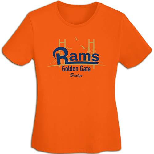 (MiiyarHome Women's T-Shirts St. Louis Rams, Girls Tee Short Sleeves Ladies Teen Jersey Shirt Orange XL)