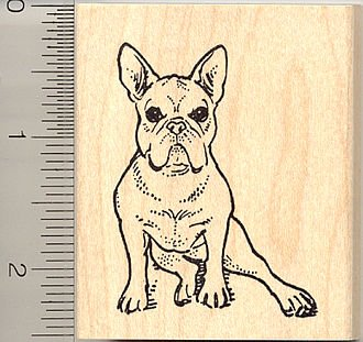 French Bulldog Rubber Stamp - Wood Mounted
