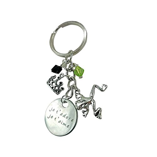 Art Attack Paris France Je T'Aime Et Je T'adore Keychain, Kissing Frog Princess Queen King Crown Key Ring -