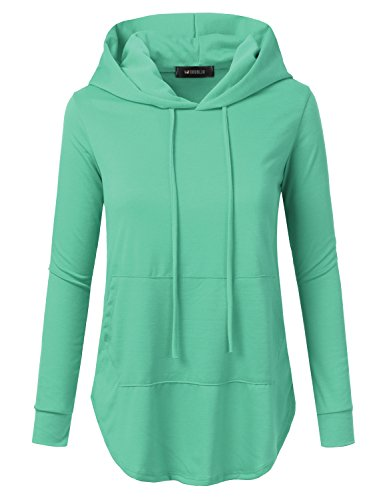 Doublju Loose Fit Pullover Hoodie With Kangaroo Pocket For Womens With Plus Size (Made In USA) DARKMINT Large (Bleach Sweatshirt)