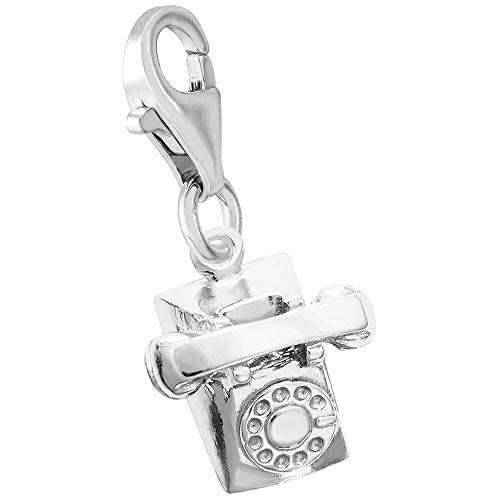 (Rembrandt Charms Telephone Charm with Lobster Clasp, Sterling Silver)