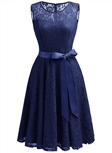 Dressystar Vestido Fiesta Corto Encaje Estampado Flor Elegante Mujer Sin Manga Vestido para Madrina Navy