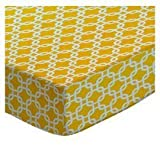 SheetWorld Fitted Pack N Play (Graco Square Playard) Sheet - Lemon Yellow Links - Made In USA