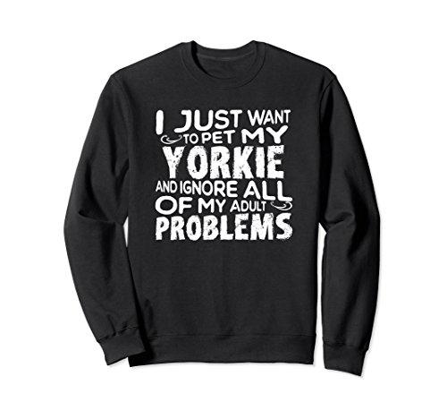 Unisex Funny Yorkie Sweatshirt for Yorkshire Terrier Mom Teacup Tee Medium (Yorkie Terrier Teacup)