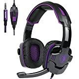 Gaming Headset With Microphone SADES SA930 3.5mm Gaming Headset For Xbox One/PS4/PC/Laptop/Computer/Smartphones/Noise Reduction Game Earph Game Earph with Surround Sound Stereo (Black+Purple)