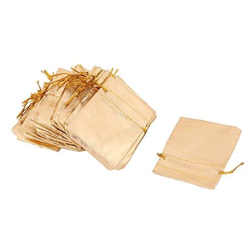 Portal Cool Gold Tone 50pcs: Plastic Family Sundries Jewelry Ring Earrings Necklace Holder Drawstring Bag 50 Pcs Gold Tone