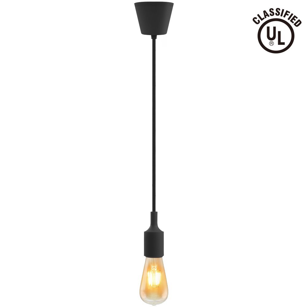 UL-listed Single Socket Pendant Light Fixture (Multi-color Options), Textile Insulating Lamp Cord, Silicon E26/E27 Lamp Holder for Home, Commercial, Pub, Club, Counter, Accent & Decorative Lighting, Black