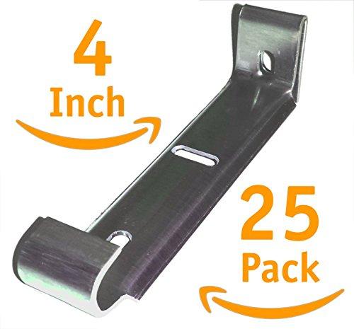 "4"" inch Hidden Rain Gutter Hanger Bracket Hook Clip style Heavy Duty .060 thick Aluminum for K-Style Gutters(25 Pack)"