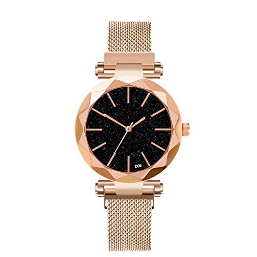 - Klions Starry Sky Women Watch Waterproof Magnet Stainless Steel Strap Free Buckle Dress Analogue Wrist Watch Gift Black/Blue/Gold/Purple/Red