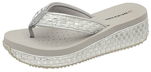 Womens Dunlop Sandals Platform Wedge Flip Flops Interwoven Silver