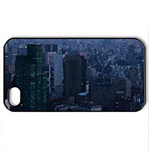 Tokyo evening - Case Cover for iPhone 4 and 4s (Skyscrapers Series, Watercolor style, Black)