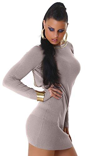 Jersey–Vestido de punto para & con Ornamentales Cadena Talla Única (34–�?0) gris claro
