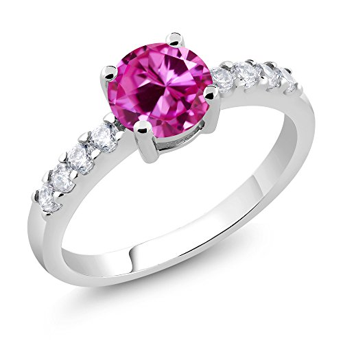 Gem Stone King 1.90 Ct Round Pink Created Sapphire Rhodium Plated Women's Ring (Available in size 5, 6, 7, 8, - Ct 1.9 Natural
