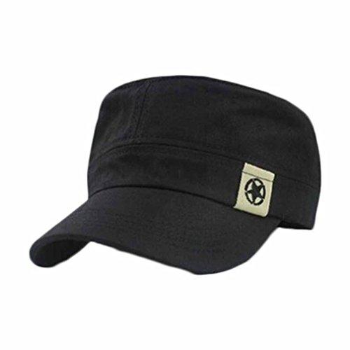 Aritone Women Men Cotton Hat Outdoor Flat Roof Military Hat Cadet Patrol Bush Hat Baseball Field Cap (BK)