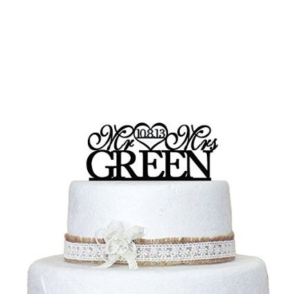 Amazon.com: designyours Wedding Cake Toppers Mr and Mrs Personalized ...