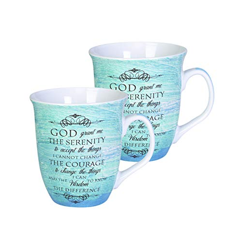 Serenity Prayer Mug - Elanze Designs Serenity Prayer Teal Blue 16 Ounce Ceramic Stoneware Coffee Mugs Set of 2