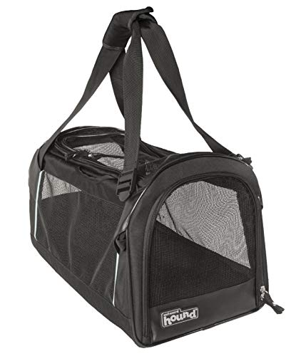 Outward Hound Pet Tour Carrier, Soft Sided Pet Travel Carrier for Dogs with 360° Ventilated Mesh Panels, Padded Strap & Lockable Zippers, One Size, Black