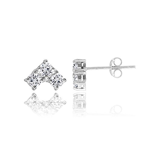 Sterling Silver Cubic Zirconia 3 Stone Triangle Stud Earrings