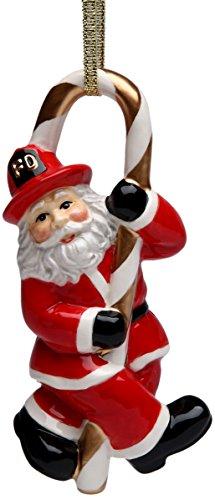 Fireman Santa - Cosmos Gifts 10716 Fireman Santa Ceramic Figurine with Ribbon, 4-5/8-Inch